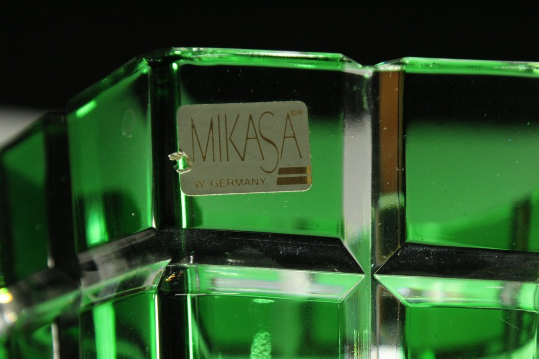 MIKASA W. Germany GREEN FACETED SQUARES TAPERED VASE - 5