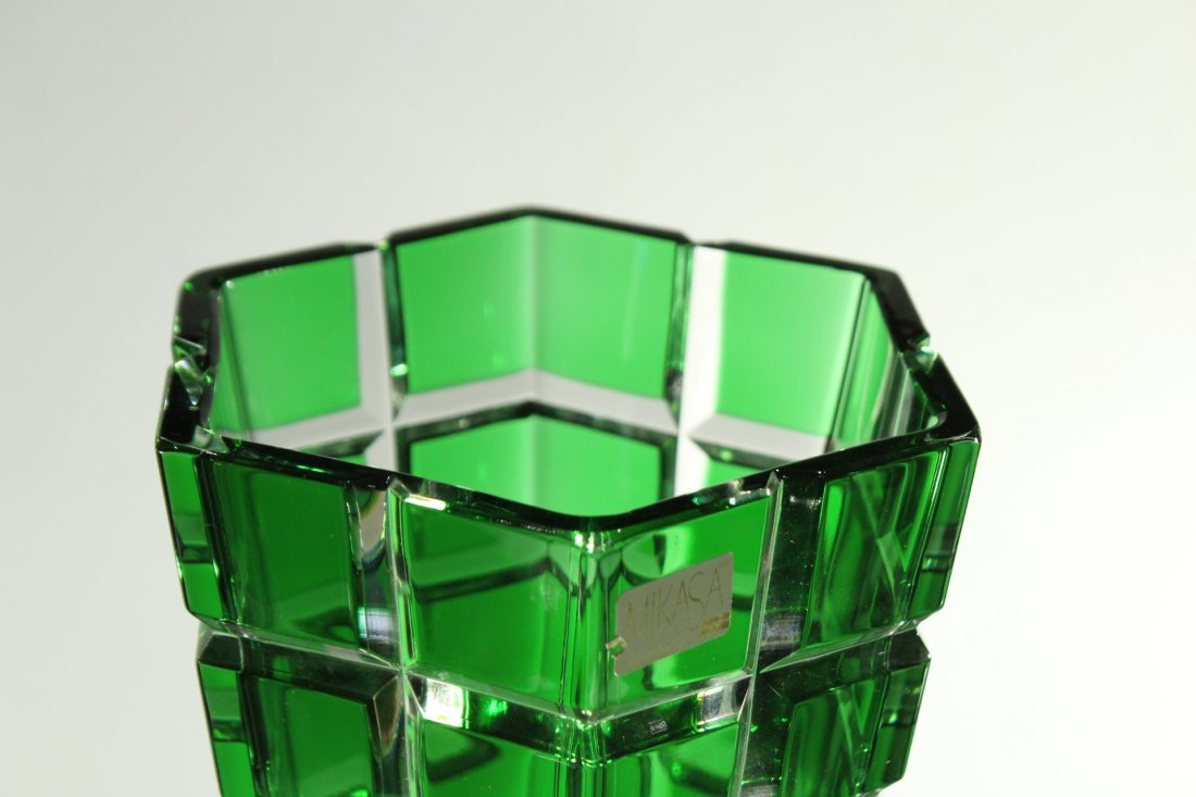 MIKASA W. Germany GREEN FACETED SQUARES TAPERED VASE - 6