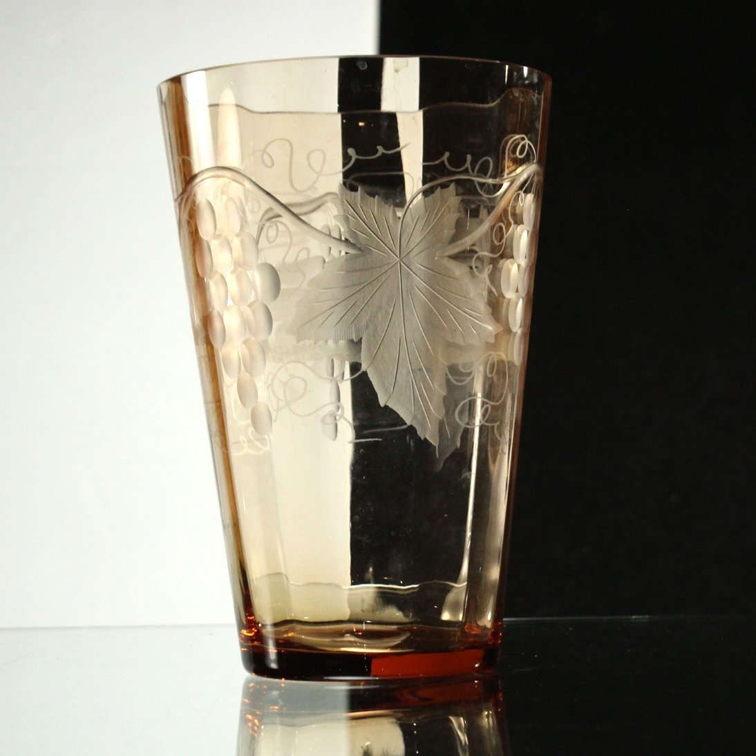 PINK ETCHED GLASS VASE Attrib. to TUTHILL - Grapes Leaf