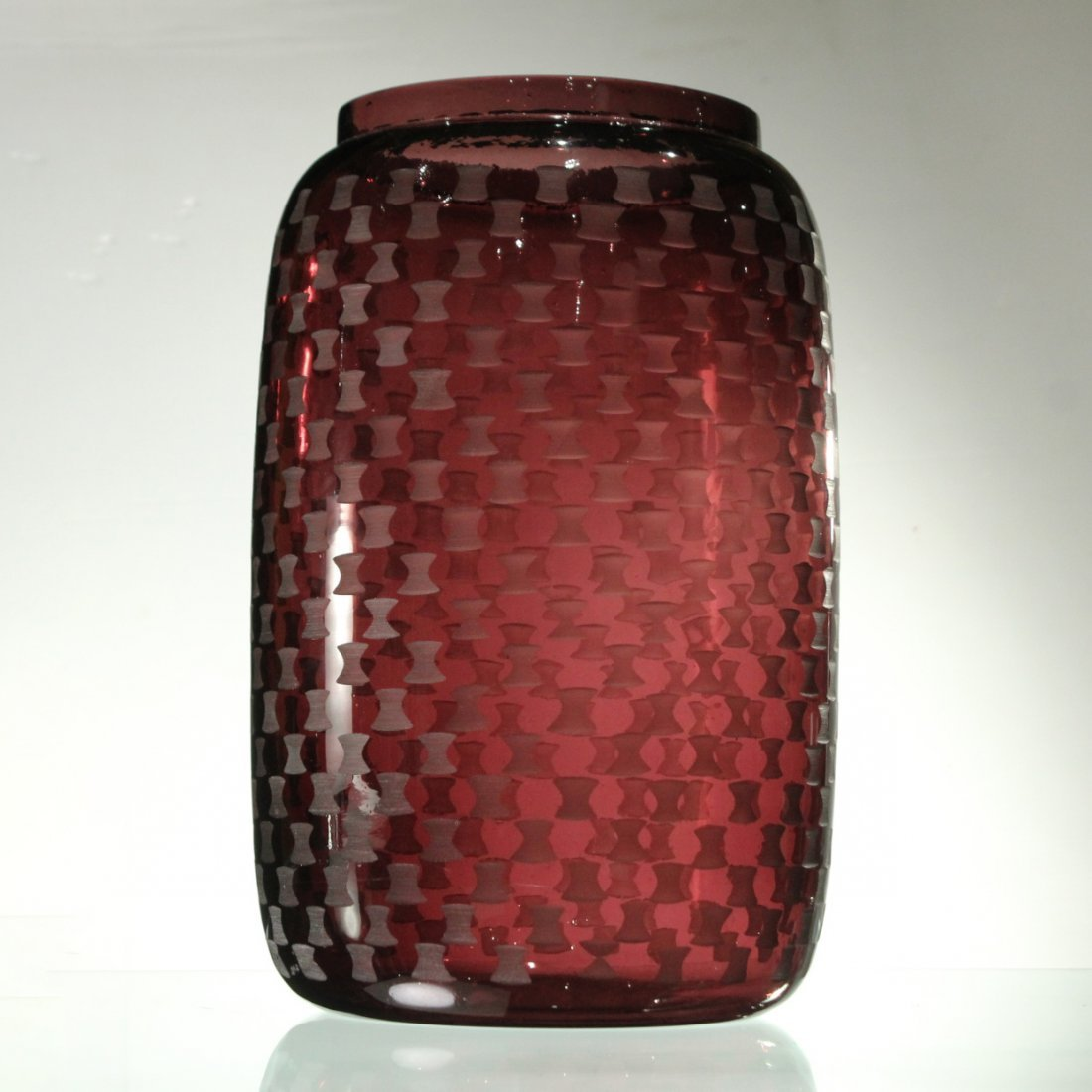 Mid-Century Modern AMETHYST GLASS VASE ETCHED PATTERN