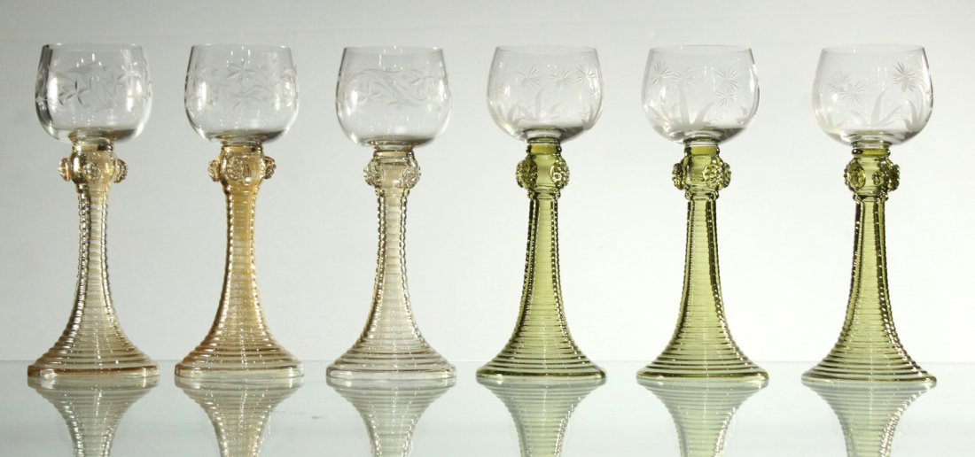 Six [6] COLORED ETCHED GLASS CHALICE GOBLETS