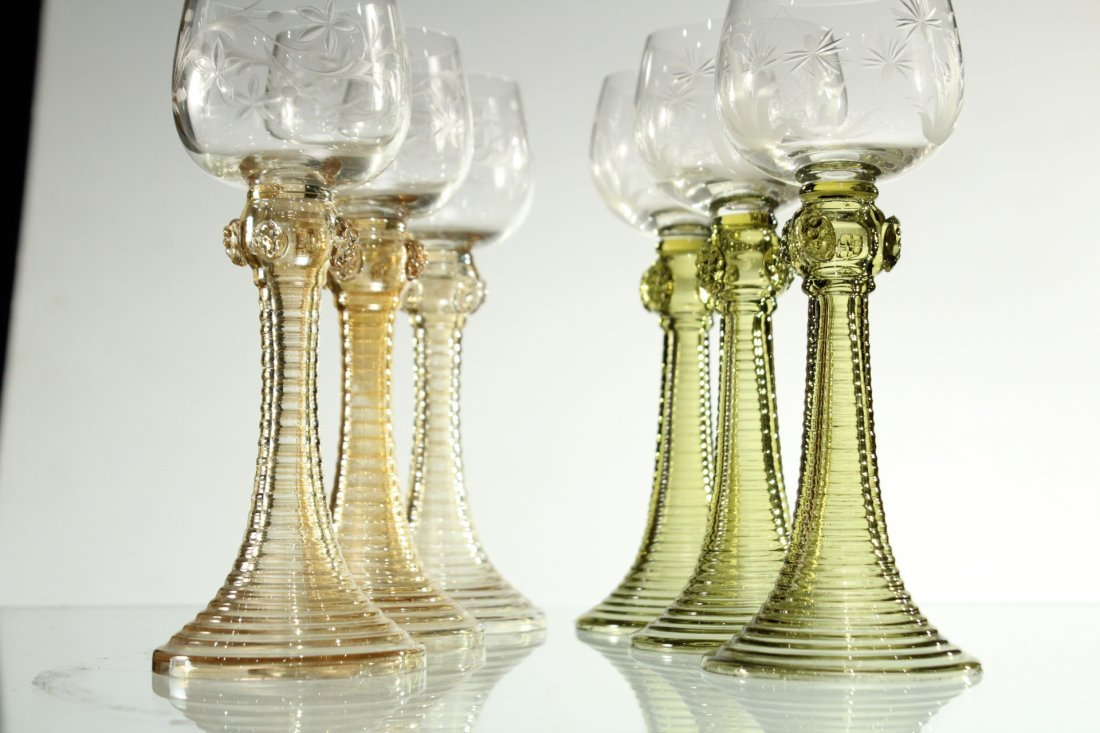 Six [6] COLORED ETCHED GLASS CHALICE GOBLETS - 2