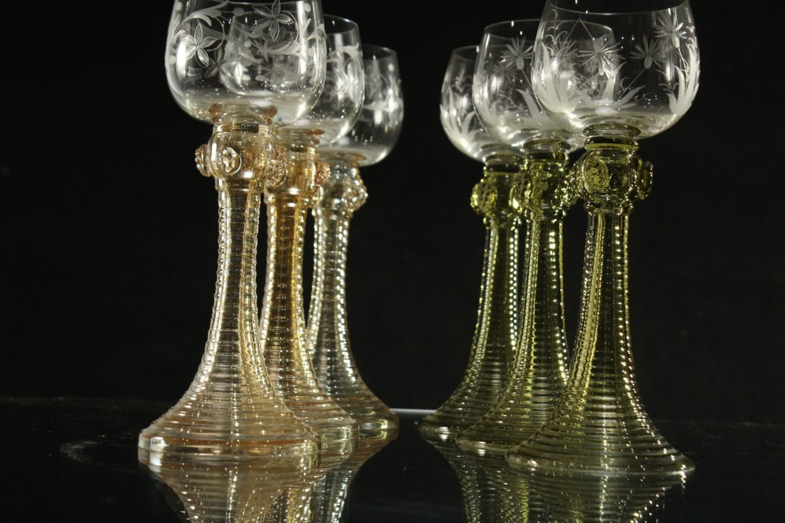Six [6] COLORED ETCHED GLASS CHALICE GOBLETS - 3