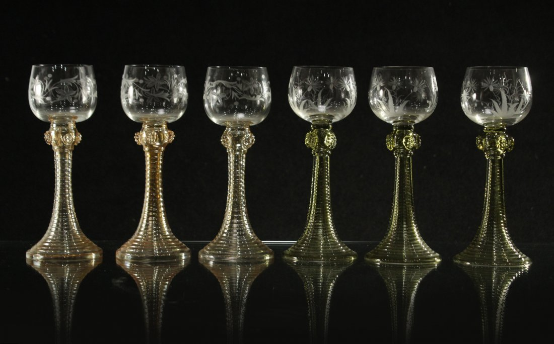 Six [6] COLORED ETCHED GLASS CHALICE GOBLETS - 4