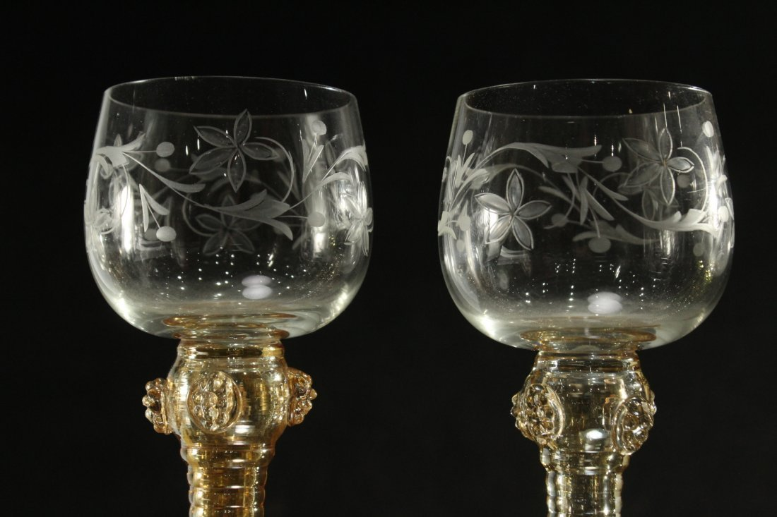 Six [6] COLORED ETCHED GLASS CHALICE GOBLETS - 5