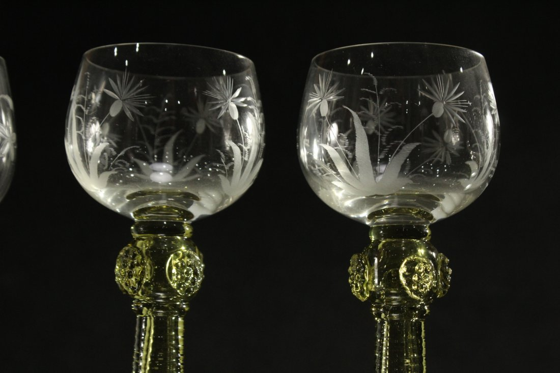 Six [6] COLORED ETCHED GLASS CHALICE GOBLETS - 6