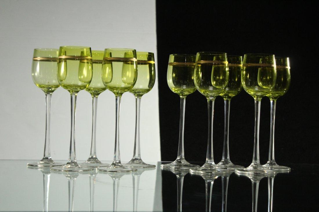 Ten Mid-Century TALL STEMWARE Light Green - Gold Bands - 3