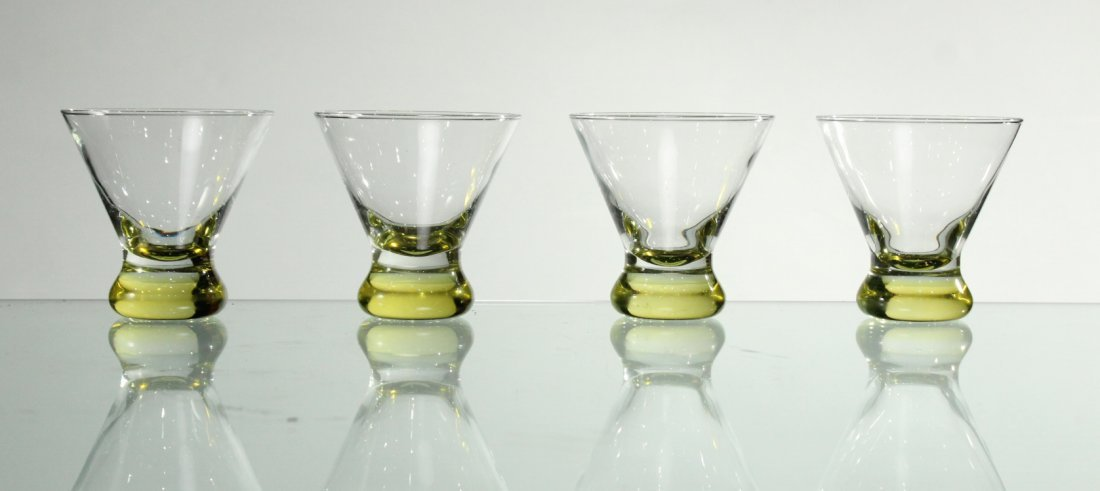 Four [4] Mid-Century Modern YELLOW TINT GLASS SHERRIES