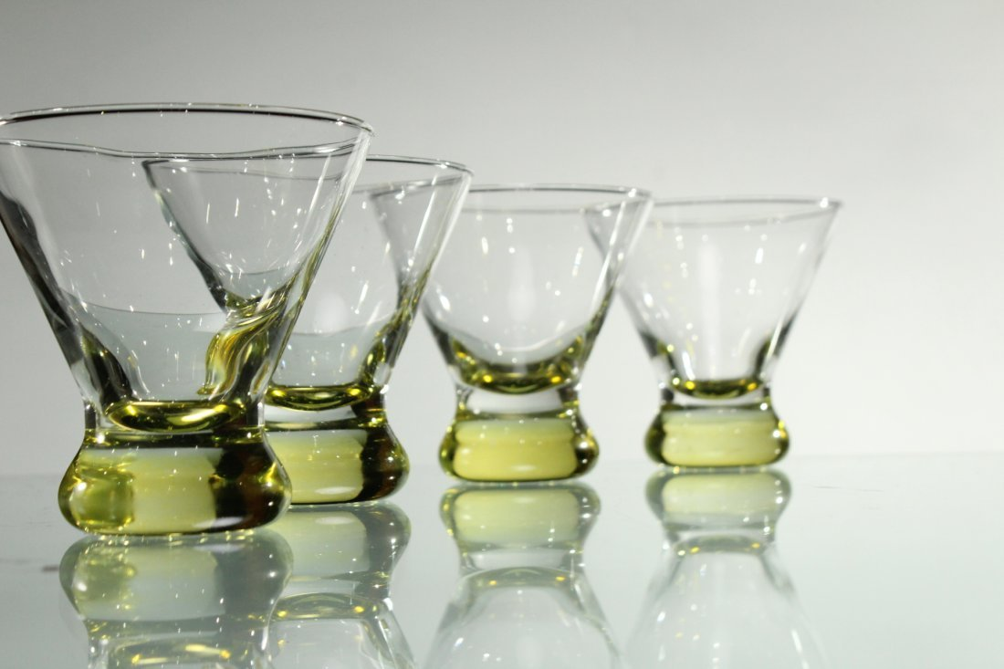Four [4] Mid-Century Modern YELLOW TINT GLASS SHERRIES - 2