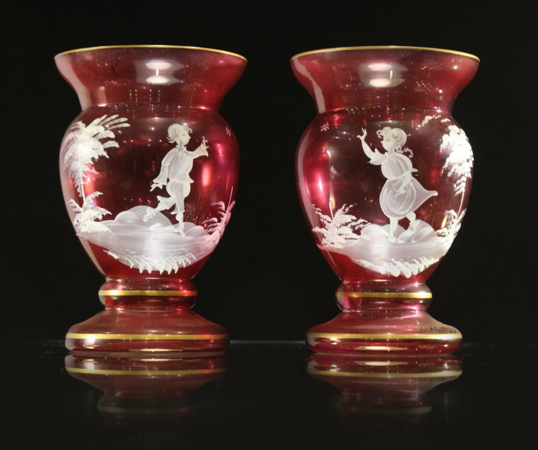 Pair MARY GREGORY Cranberry Glass Small Vases