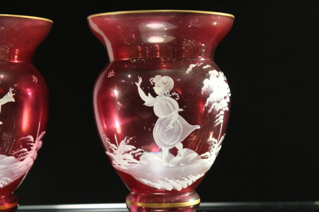 Pair MARY GREGORY Cranberry Glass Small Vases - 2