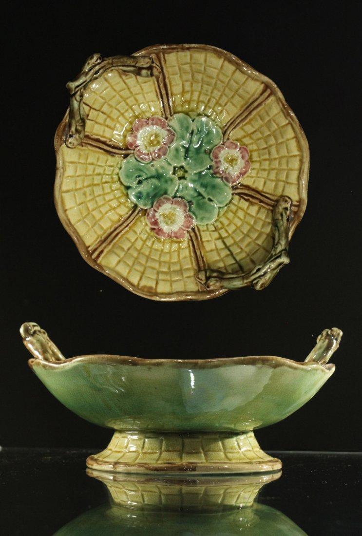 MAJOLICA Glazed Pottery Handled Center Bowl