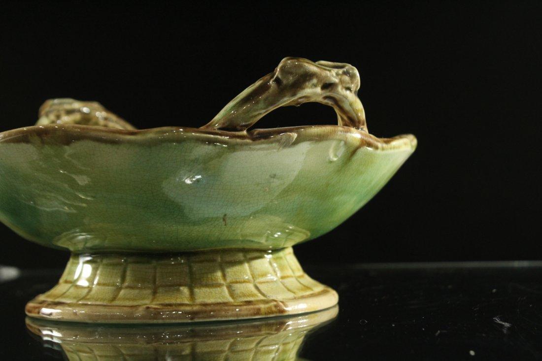MAJOLICA Glazed Pottery Handled Center Bowl - 2