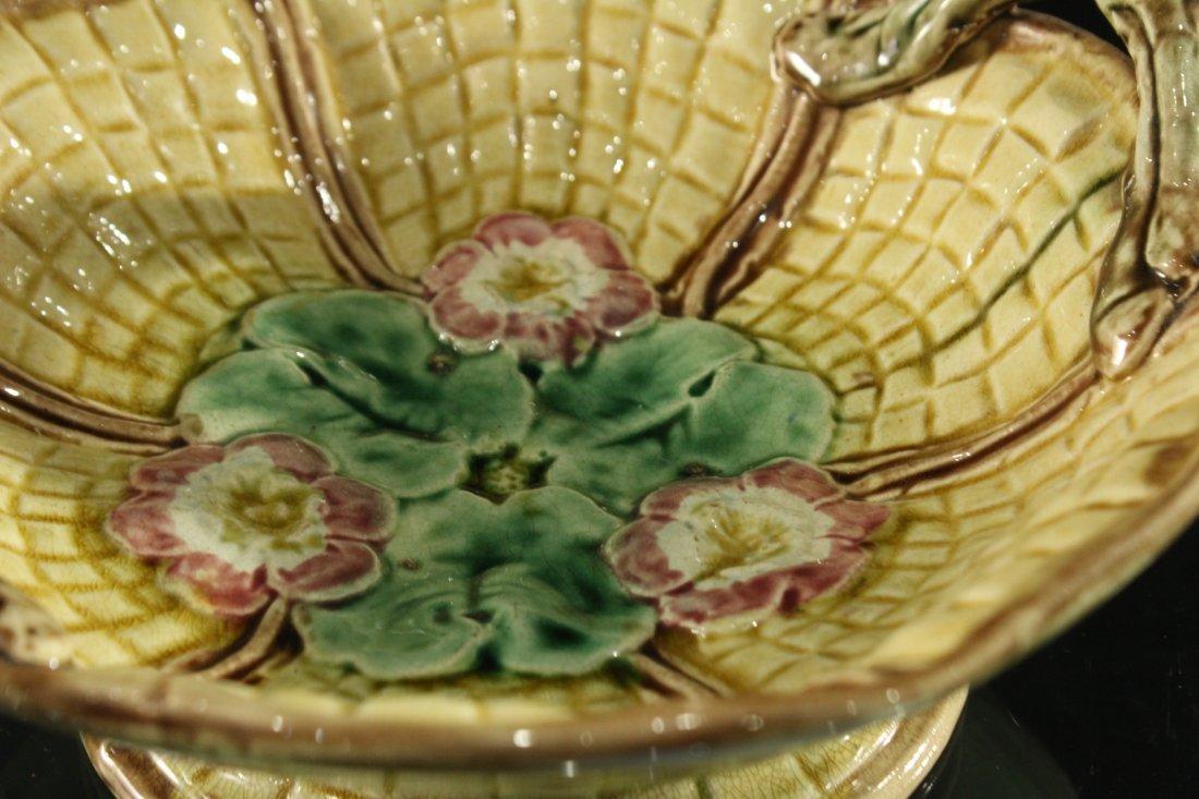 MAJOLICA Glazed Pottery Handled Center Bowl - 5