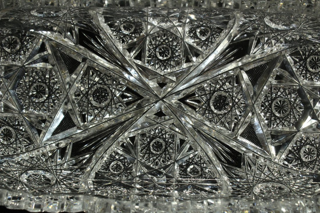American Brilliant Cut Glass Celery Dish Folded Sides - 4