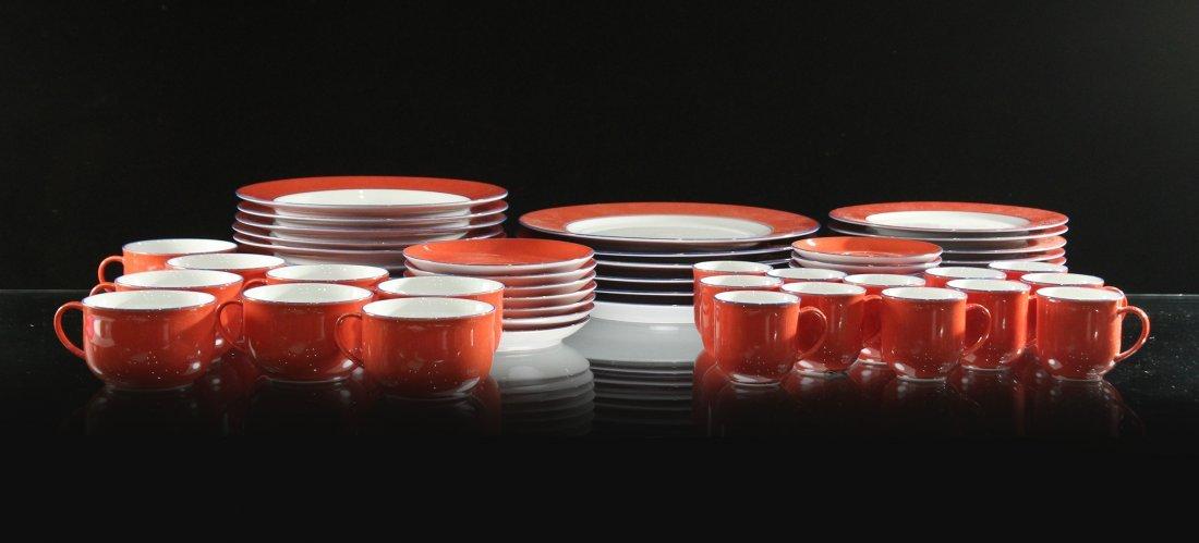 TOGNANA ITALY 58-Piece Porcelain Dinner ORANGE WHITE