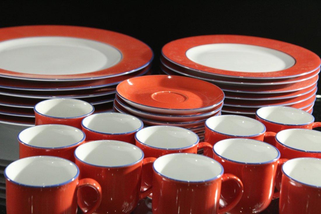 TOGNANA ITALY 58-Piece Porcelain Dinner ORANGE WHITE - 3