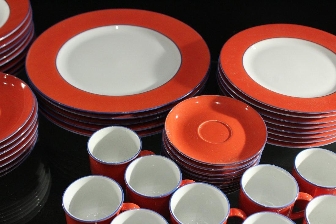 TOGNANA ITALY 58-Piece Porcelain Dinner ORANGE WHITE - 4