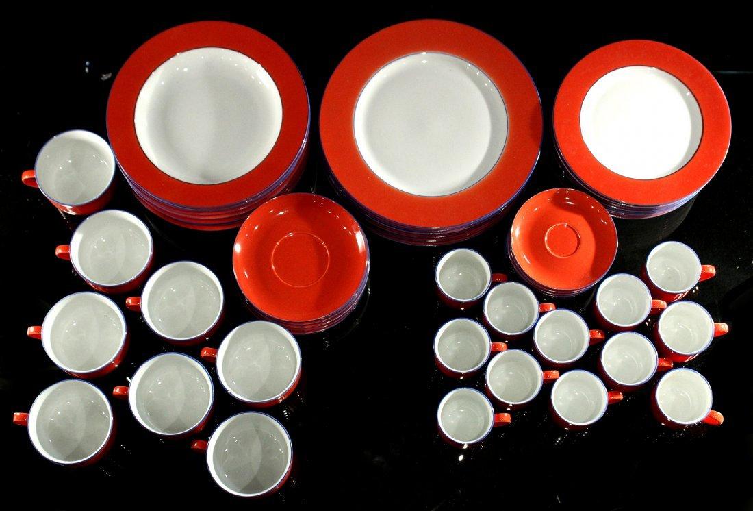 TOGNANA ITALY 58-Piece Porcelain Dinner ORANGE WHITE - 6