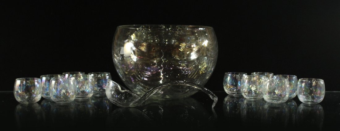 Mid-Century IRIDESCENT GLASS PUNCH BOWL, 12 CUPS, LADEL