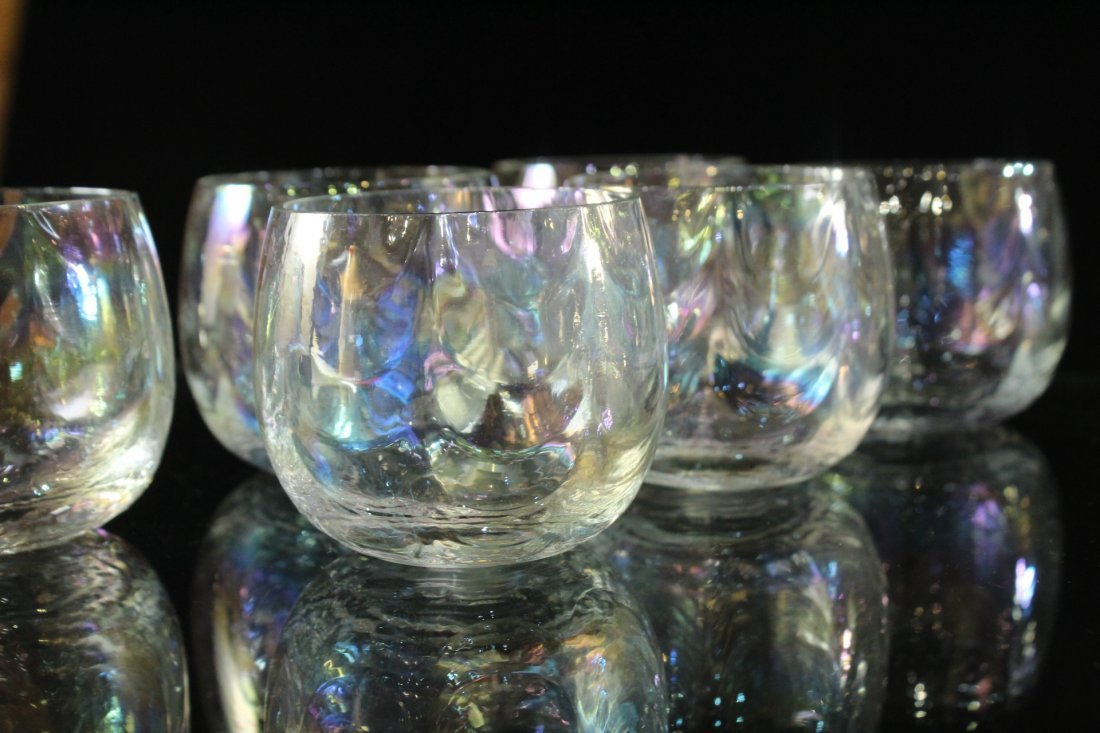 Mid-Century IRIDESCENT GLASS PUNCH BOWL, 12 CUPS, LADEL - 2