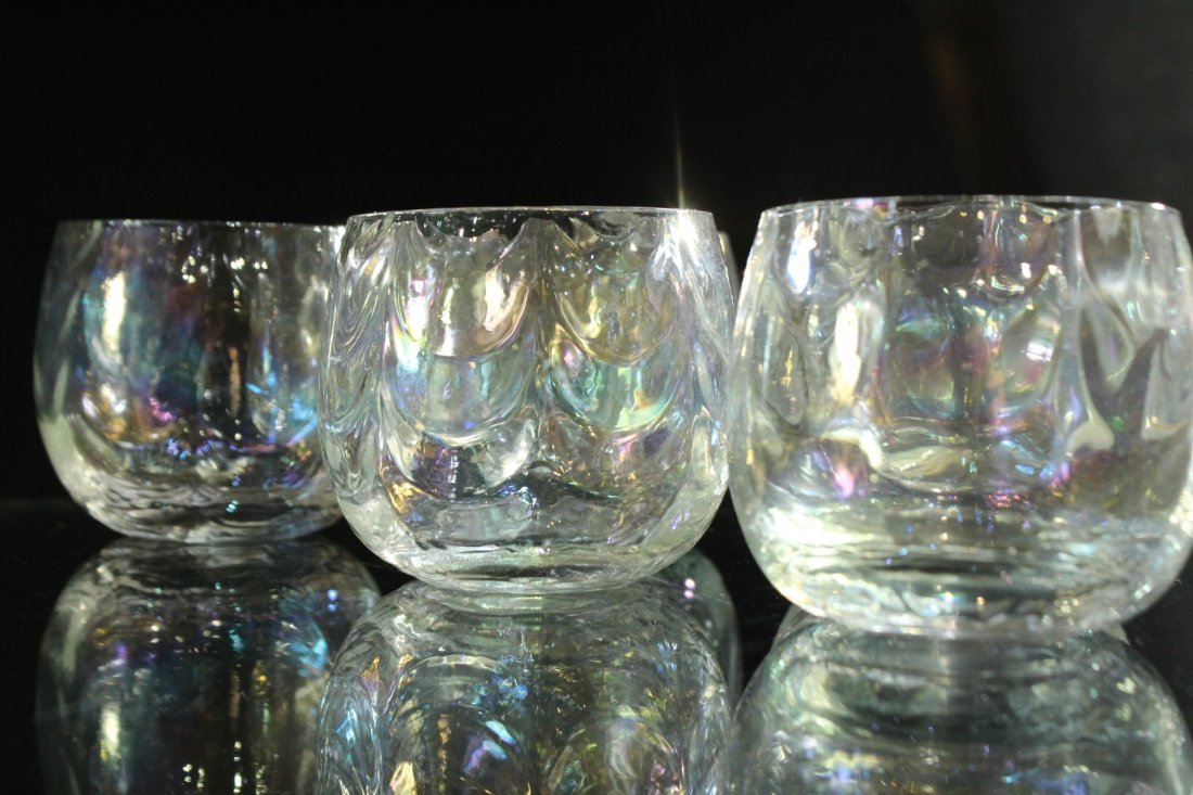 Mid-Century IRIDESCENT GLASS PUNCH BOWL, 12 CUPS, LADEL - 3