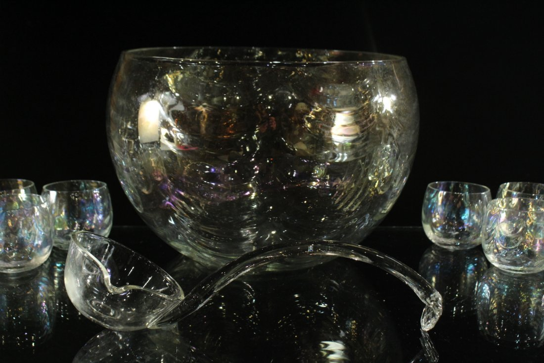 Mid-Century IRIDESCENT GLASS PUNCH BOWL, 12 CUPS, LADEL - 4