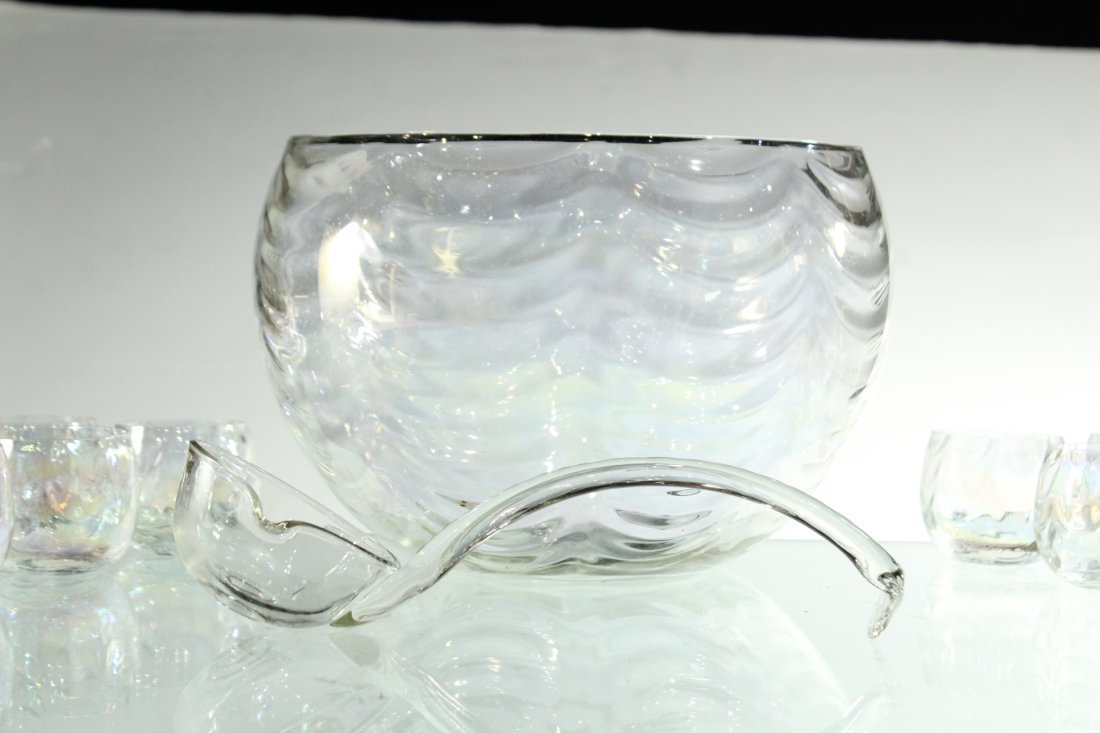 Mid-Century IRIDESCENT GLASS PUNCH BOWL, 12 CUPS, LADEL - 5