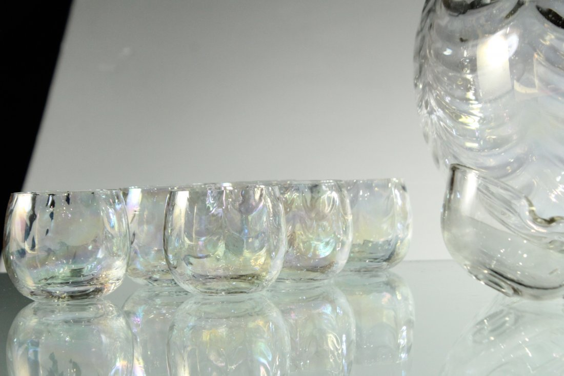 Mid-Century IRIDESCENT GLASS PUNCH BOWL, 12 CUPS, LADEL - 6