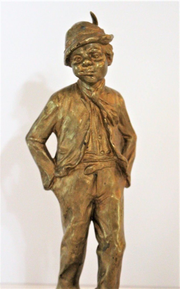 CINOBIER French 19th BRONZE BOY STREET URCHIN Gold Dore - 2