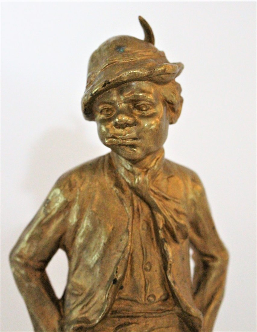 CINOBIER French 19th BRONZE BOY STREET URCHIN Gold Dore - 3