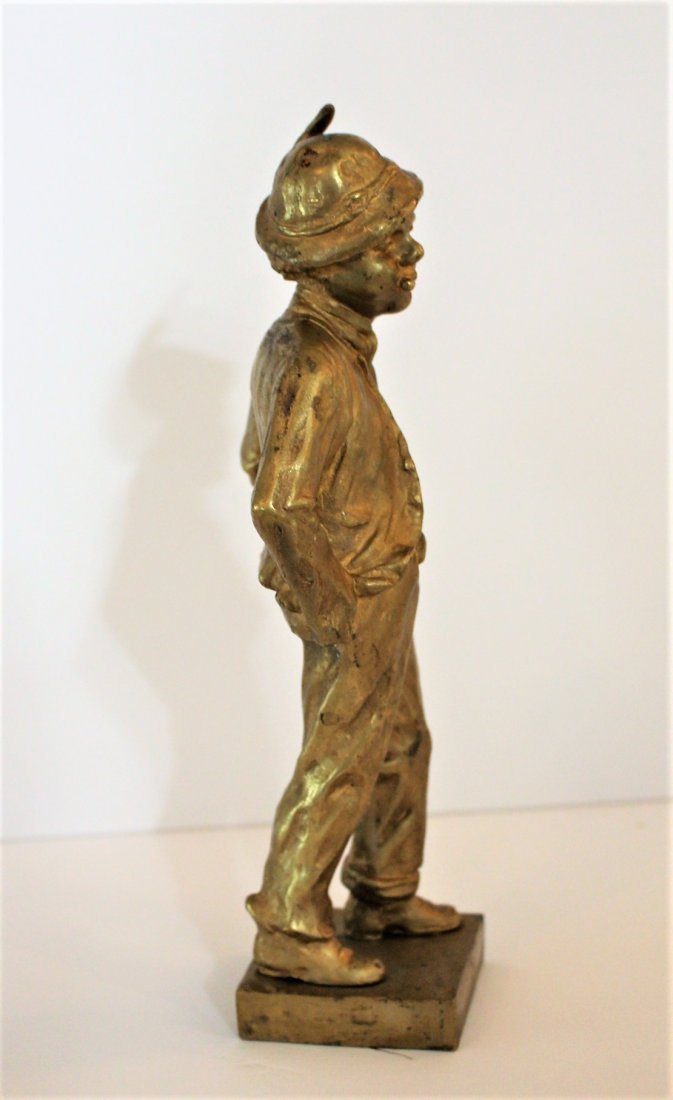 CINOBIER French 19th BRONZE BOY STREET URCHIN Gold Dore - 7