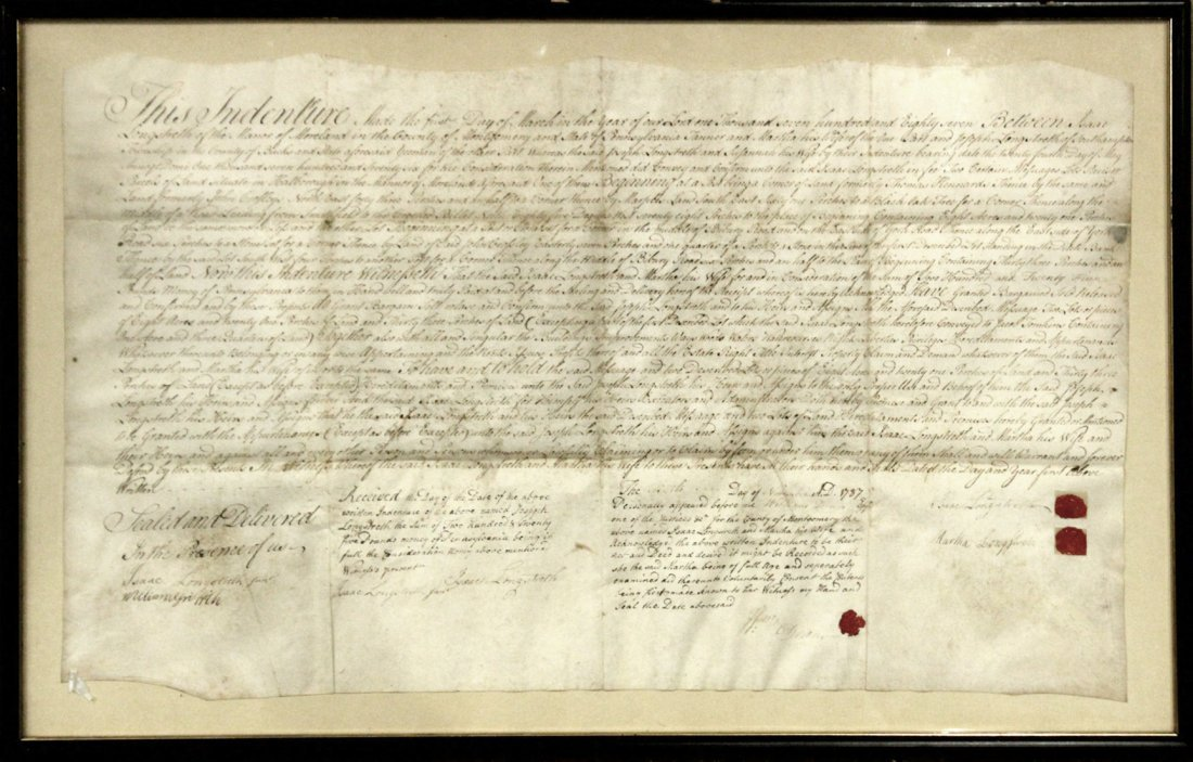 Dated 1787 INDENTURE With SEALS, FRAMED Under Glass