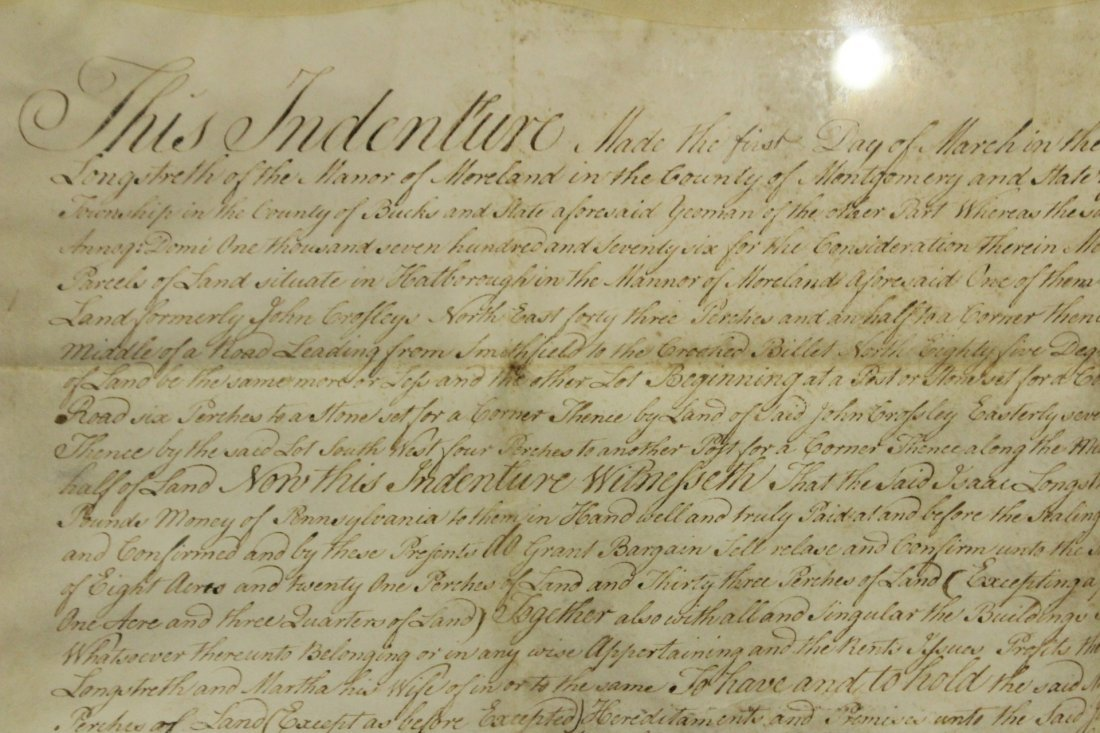 Dated 1787 INDENTURE With SEALS, FRAMED Under Glass - 2