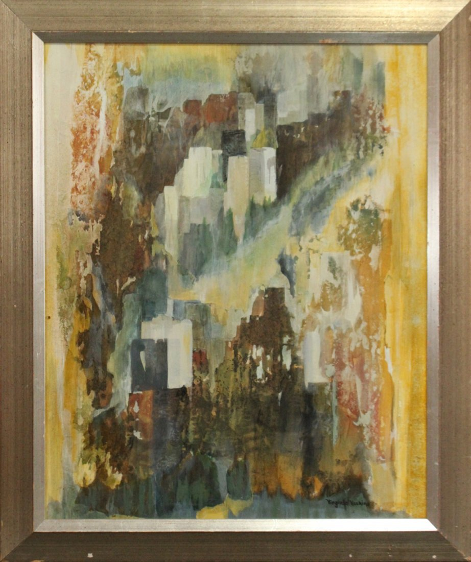 VIRGINIA HASKINS, Mixed Media Mid-Century ABSTRACT