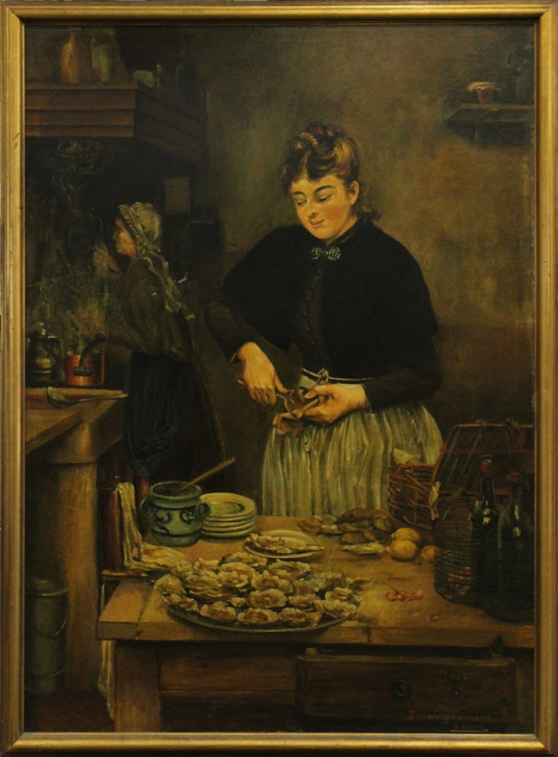 DAMBOURGEZ 1873 Large OIL/C SHUCKING OYSTERS IN KITCHEN