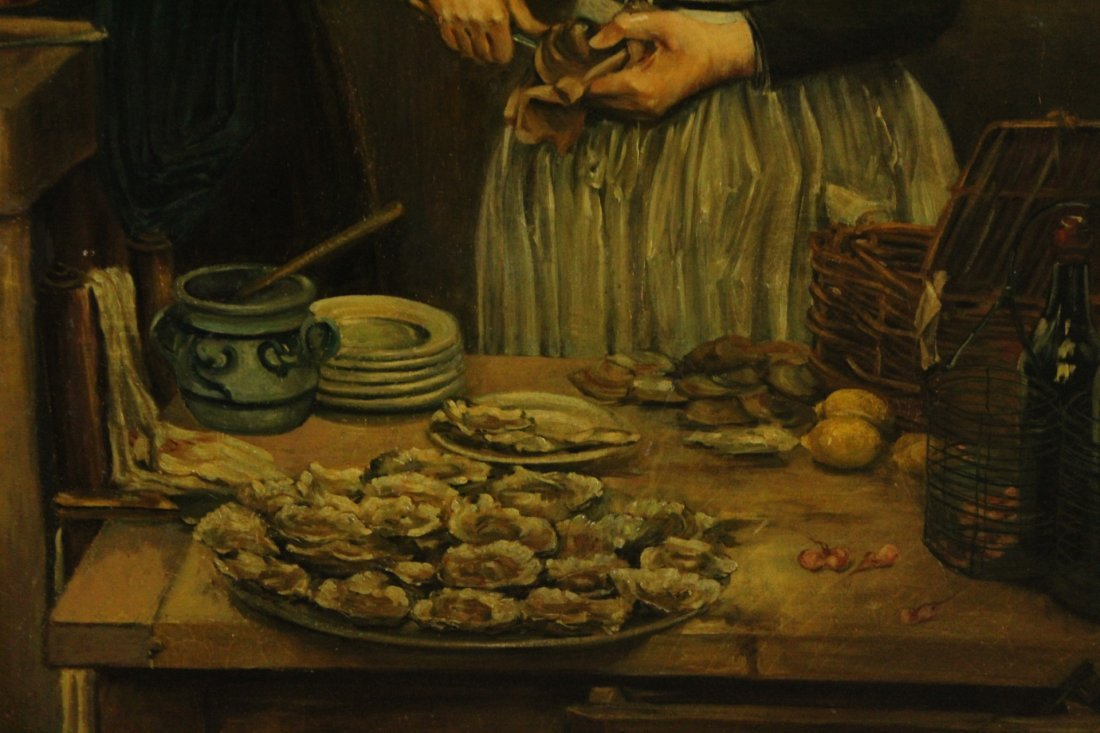 DAMBOURGEZ 1873 Large OIL/C SHUCKING OYSTERS IN KITCHEN - 3