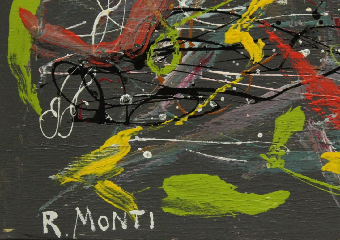R. MONTI Mid Century LARGE SIZE DRIP ART ABSTRACT OIL/C - 4