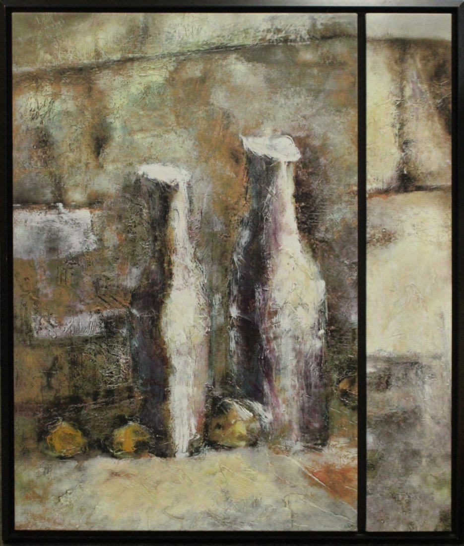 Mid-Century Modern ABSTRACT DIPTYCH OIL PAINTING