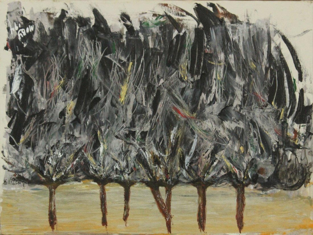 IMPRESSIONIST OIL TREES IN THE WIND Signed MOBY