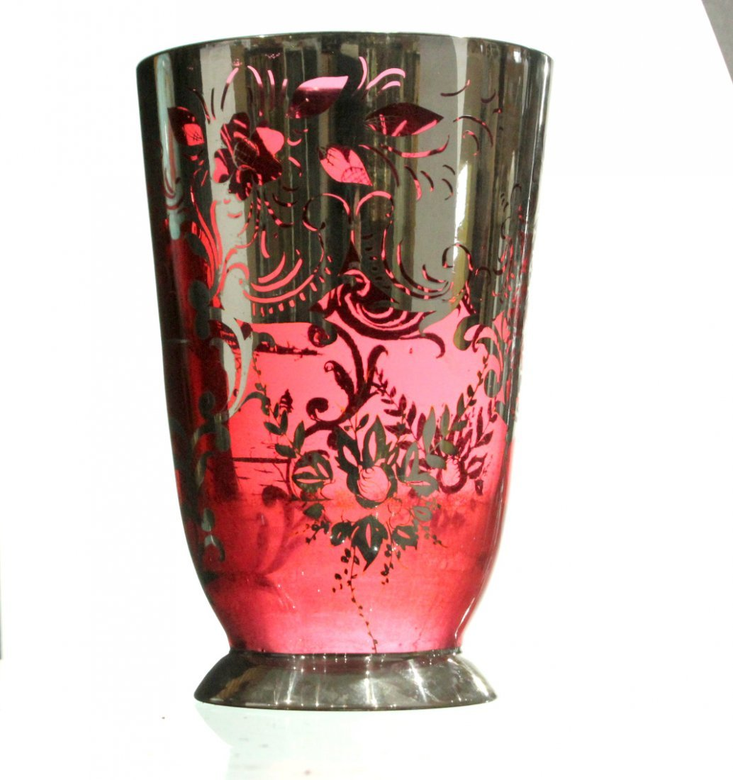 Circa 1930s Cranberry Glass Vase With Silver Overlay