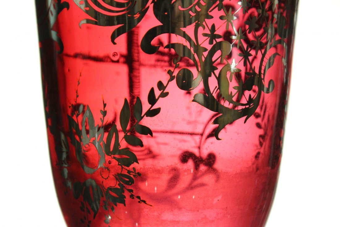 Circa 1930s Cranberry Glass Vase With Silver Overlay - 2