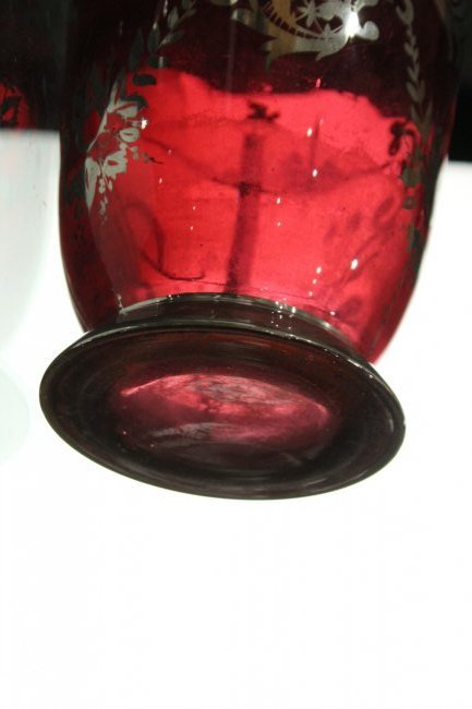 Circa 1930s Cranberry Glass Vase With Silver Overlay - 4