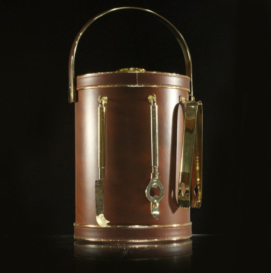 Modern Design LEATHER CASED ICE BUCKET With Utensils