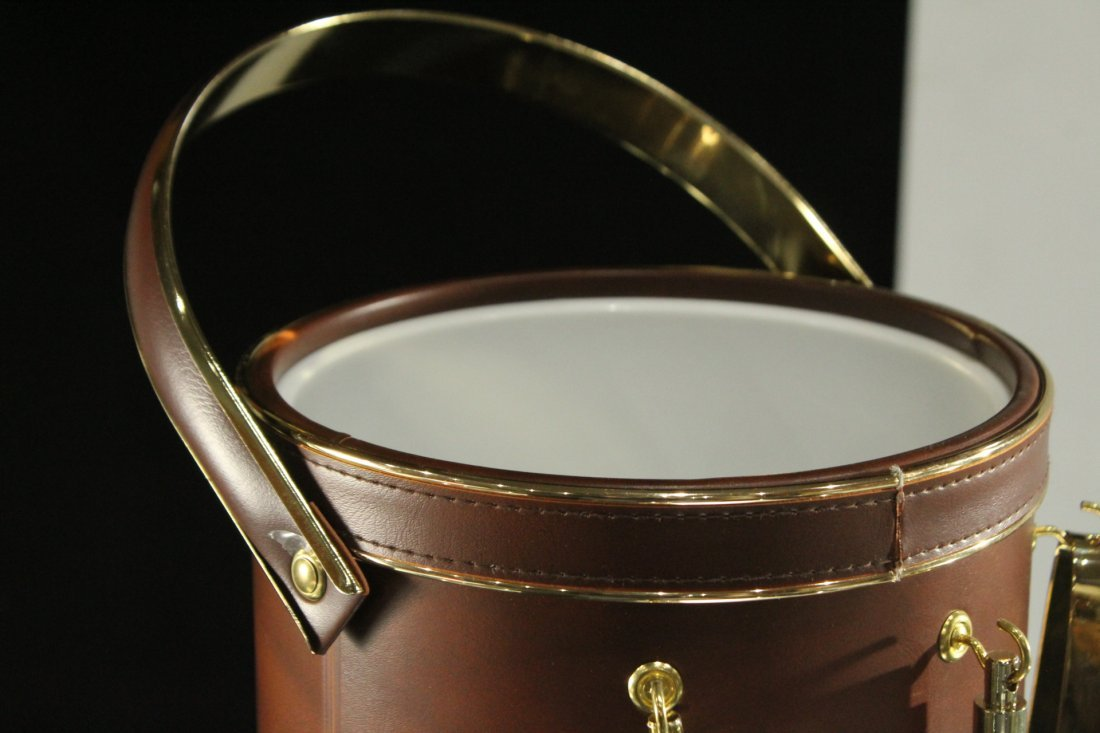 Modern Design LEATHER CASED ICE BUCKET With Utensils - 4