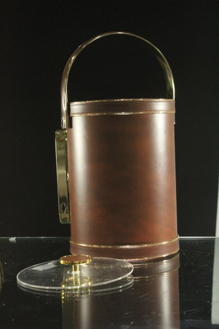 Modern Design LEATHER CASED ICE BUCKET With Utensils - 5