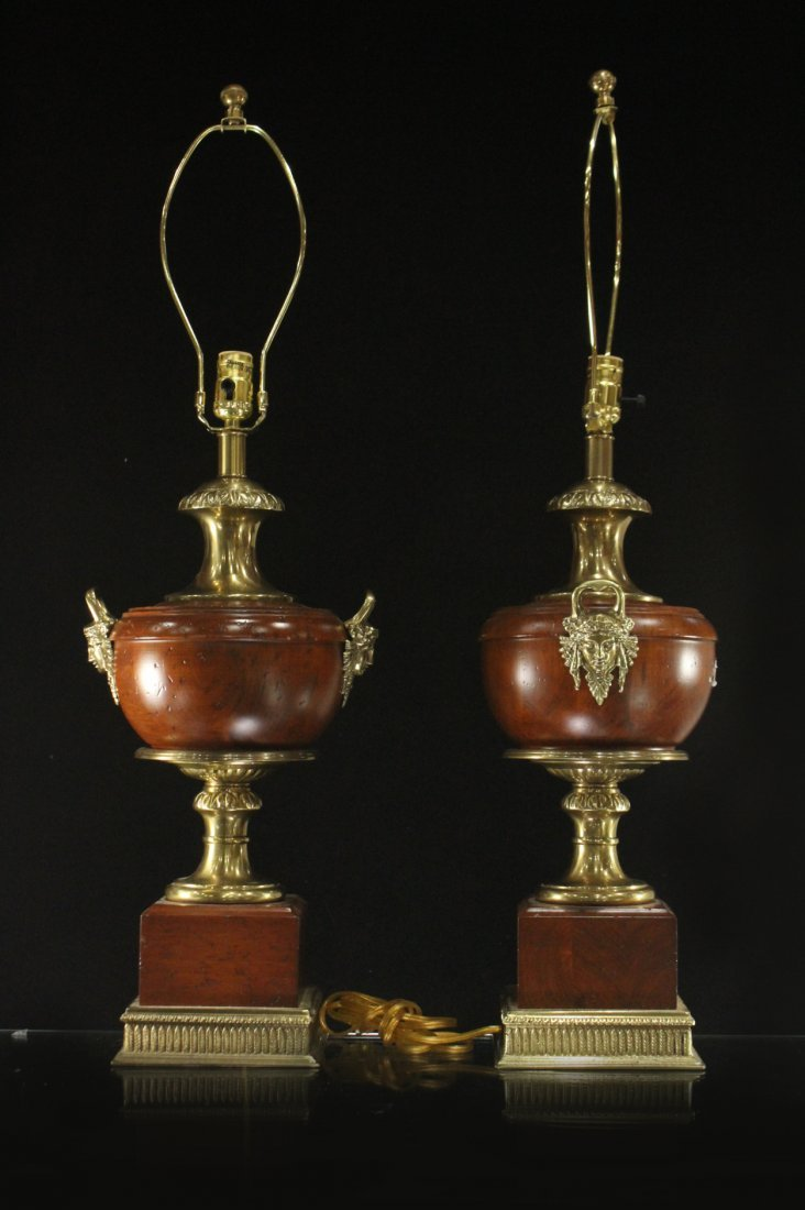 Pair FRENCH EMPIRE DESIGN TABLE LAMPS BRONZE MOUNTS