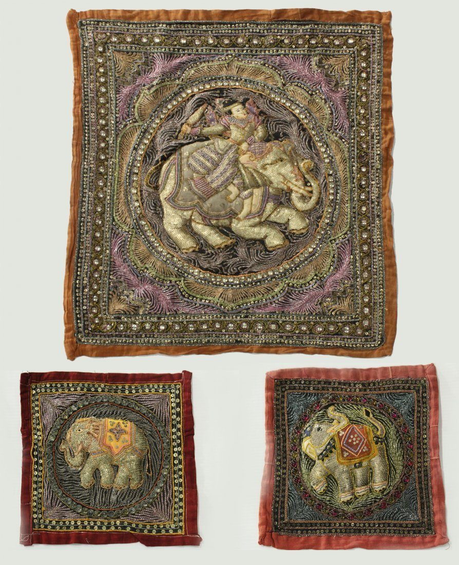 Three [3] Assorted TIBETIAN TAPESTRY PILLOW COVERS