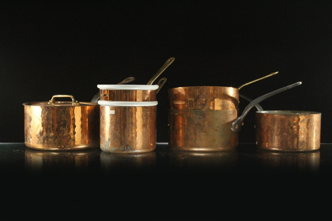Five [5] Assorted FRENCH COOPER COOKWARE POTS