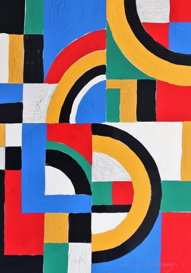SONIA DELAUNAY , Gouache on Paper COLORFUL ABSTRACT